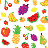 Seamless  retro pixel game fruits pattern Royalty Free Stock Images