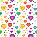 Seamless retro pixel game rainbow heart pattern. Vector stock illustration