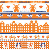 Seamless retro pixel Holland orange pattern Stock Photo