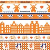 Seamless retro pixel Holland orange pattern. Vector Stock Photo