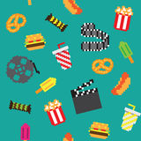 Seamless  retro pixel movie pattern. Seamless  retro pixel iconic movie pattern Stock Photography