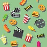 Seamless  retro pixel movie pattern. Seamless  retro pixel iconic movie pattern Stock Photos