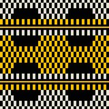Seamless retro print of wide stripes with chessboard pattern ins. Seamless geometric print of wide horizontal stripes with chessboard pattern inside. Yellow Stock Images