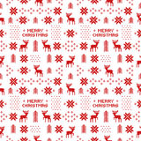 Seamless retro red christmas pattern with deers, trees and snowflakes Royalty Free Stock Image