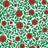 Seamless retro red flower pattern in vector Royalty Free Stock Photography