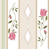 Seamless retro roses flowers pattern striped background Stock Photo