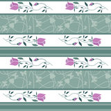Seamless retro roses flowers pattern striped background Stock Images