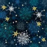 Seamless Retro Snowflakes on a starry night Royalty Free Stock Photo