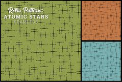 Seamless Retro Star Pattern in 3 vintage color options. Classic star pattern inspired by vintage fabric vector illustration