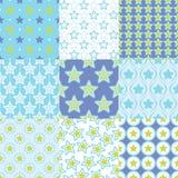 Seamless retro stars geometric pattern. Set Stock Illustration