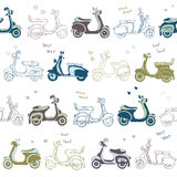 Seamless retro vintage  scooter pattern Stock Image