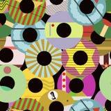 Seamless retro vinyl record labels pattern vector illustration, f. Ictional vector art vector illustration