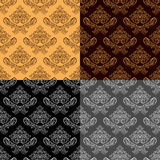 Seamless retro wallpapers - set of four colors Stock Images