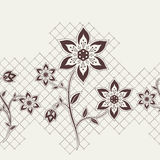 Seamless ribbon with flowers elements. Seamless wallpaper for your design vector illustration