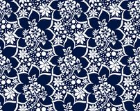 Seamless damask dark blue vector wallpaper Royalty Free Stock Images