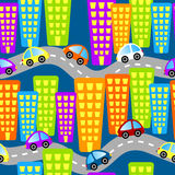 Seamless roads and cars city. Seamless tile with cars and roads in the city Stock Photos