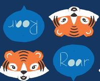Seamless roaring tigers repeat pattern background in blue and orange vector illustration