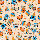 Seamless robot pattern Stock Images