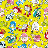 Seamless robot pattern. Vector drawing Royalty Free Stock Image