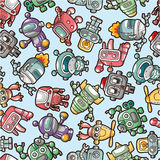 Seamless robot pattern. Drawing Stock Images