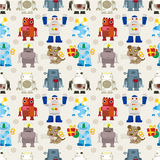 Seamless Robot pattern. Drawing Royalty Free Stock Photos