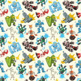 Seamless Robot pattern Stock Photo
