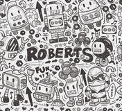 Seamless robot pattern. Illustrator line tools drawing,cartoon vector illustration Stock Photography
