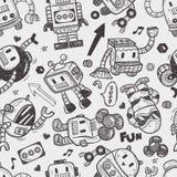 Seamless robot pattern. Illustrator line tools drawing,cartoon vector illustration Royalty Free Stock Photography