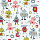 Seamless robots. Seamless background with cute funny robots in cartoon style royalty free illustration