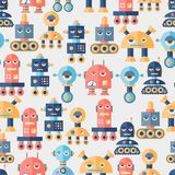 Seamless robots pattern in flat style Stock Image
