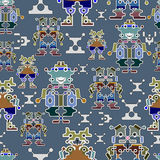 Seamless robots pattern stock illustration