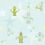 Seamless robots and rockets pattern Royalty Free Stock Photo