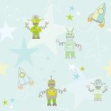 Seamless robots and rockets pattern. Blue repeating pattern with robots, rockets and stars Royalty Free Stock Photo
