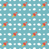 Seamless Rocket Pattern Royalty Free Stock Photos