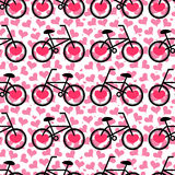 Seamless romantic pattern with bicycles Royalty Free Stock Image