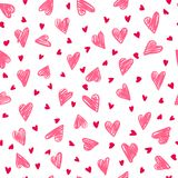 Seamless romantic pattern with hand drawing hearts. Vector cute holiday background. Gift wrap, print, cloth, cute background for a card Royalty Free Illustration