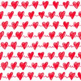 Seamless romantic pattern with hand drawing red hearts. Vector sweet holiday background. Love texture Vector Illustration