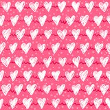 Seamless romantic pattern with hand drawing red hearts. Vector sweet holiday lovely background Royalty Free Illustration