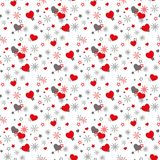 Seamless romantic pattern with hand drawn hearts, whorl, arrows and leaves. Doodle heart and leaf on white. Ready royalty free illustration