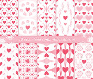 10 seamless romantic patterns. Set of 10 different seamless romantic patterns. Charming love prints with hearts in white, pink and red colors. Cute Valentine royalty free illustration