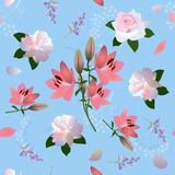 Seamless romantic square floral pattern with pink lilies, white roses, little bell flowers and stylized umbrella flowers stock illustration