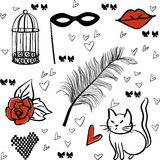 Seamless romantic vector elements pattern Stock Images