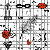 Seamless romantic vector elements pattern Stock Photography