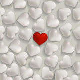 Seamless romantic white and red hearts valentines  Royalty Free Stock Photography