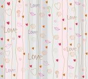 Seamless romantisk bakgrund med hjärtor Arkivbild