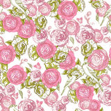 Seamless Rose Background with Birds Stock Photography