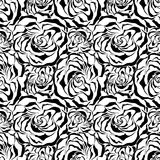 Seamless rose background. Black Vector illustratio Stock Photos