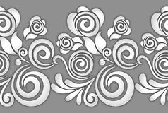 Seamless rose floral border on grey background Stock Photos