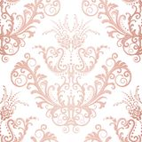 Seamless rose gold floral vintage wallpaper Stock Photos
