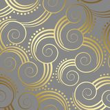 Seamless gold swirls pattern wallpaper on grey background Stock Images